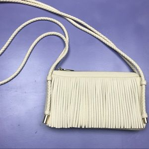 Handbags - White Fringe Crossbody Bag with Braided Straps